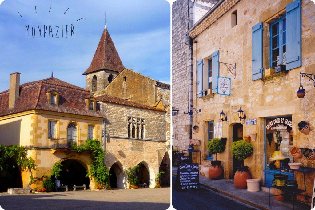 Ville de Monpazier, église et façade magasin