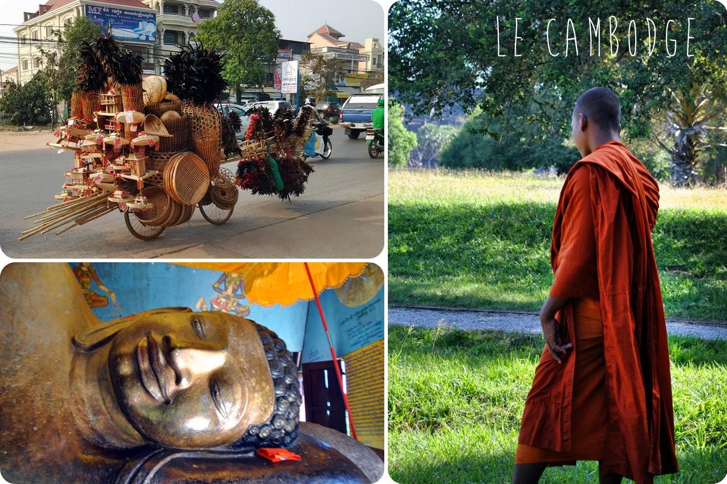 Trois images au Cambodge, moine Bouddha et charette.