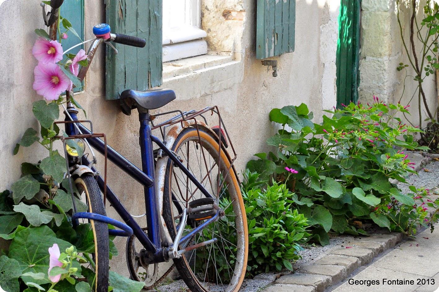 Vélo bleu contre un mur de maison volets verts.