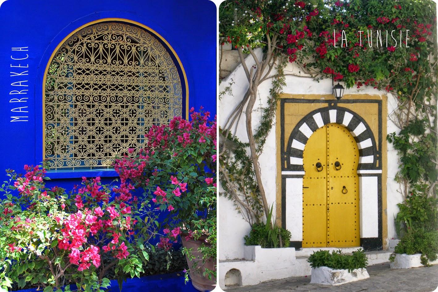 2 Images de portes une de Marrakech bleue et une de Tunisie jaune