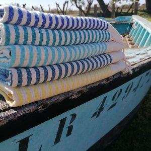 Fouta Marinière nid d'abeille serviette de bain
