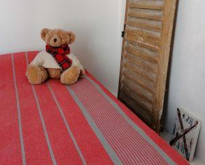 Jeté de lit 1 personne, nappe table restangulaire Fouta rayé 150 x 240
