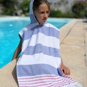 Poncho enfant à capuche Marinière