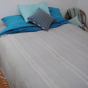 Fouta XXL, couvre lit, jeté de canapé Summer gris perle