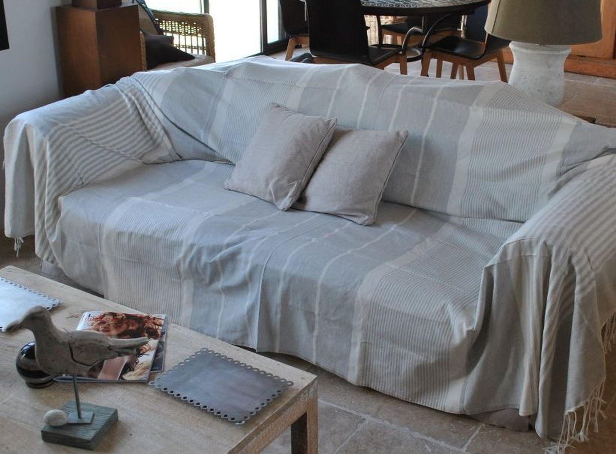 Fouta XXL, jeté de canapé, jeté de lit gris ficelle