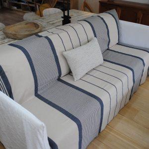Fouta XXL, jeté de canapé, couvre lit rayé