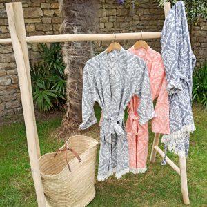 Peignoir kimono Jacquard Lys
