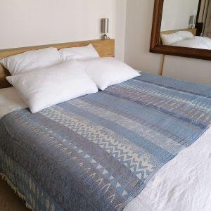 Jeté de lit, de canapé Jacquard Bocage bleu