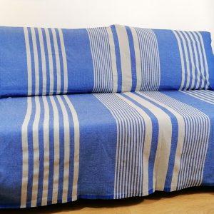 Fouta XXL, jeté de canapé, couvre lit rayé bleu bic et gris