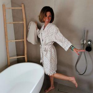 Peignoir Kimono Jacquard Lys Taupe100% coton