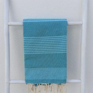 Fouta carrée 2x2 m tissage plat rayé bleu paon et bleu aqua